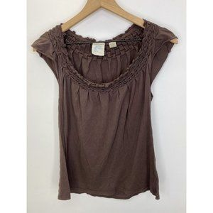 Anthropologie Short Sleeve Tank Tops Size One